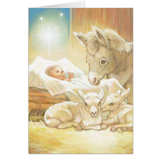 Baby Jesus Nativity with Lambs and Donkey Card