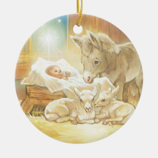 Baby Jesus Nativity with Lambs and Donkey Ceramic Ornament