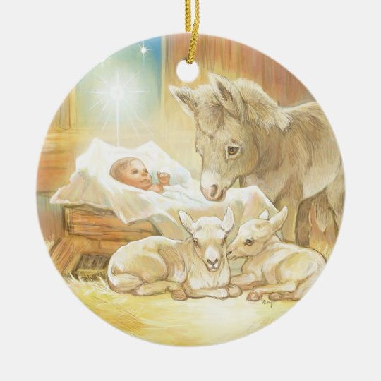 Baby jesus nativity with lambs and donkey ceramic ornament for Baby jesus christmas decoration