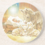 Baby Jesus Nativity with Lambs and Donkey Beverage Coaster