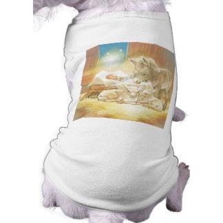 Baby Jesus Nativity with Lambs and Donkey Dog Tee Shirt