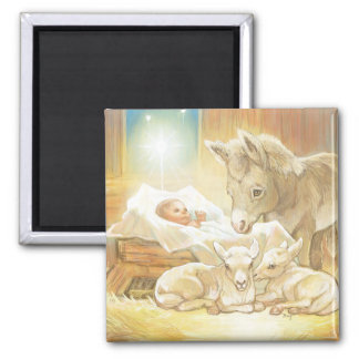 Baby Jesus Nativity with Lambs and Donkey Magnet
