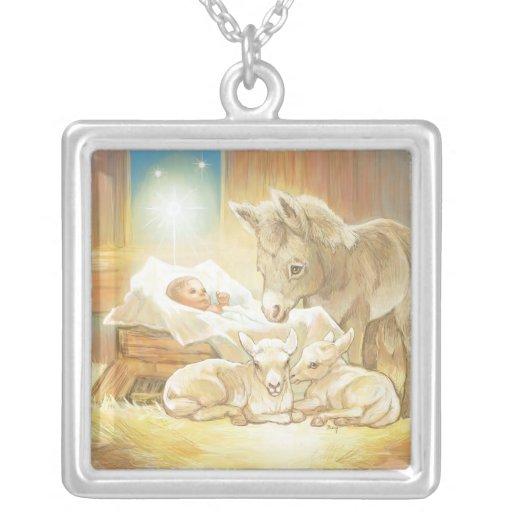 Baby Jesus Nativity with Lambs and Donkey Custom Necklace