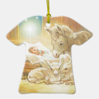 Baby Jesus Nativity with Lambs and Donkey Double-Sided T-Shirt Ceramic Christmas Ornament