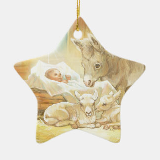 Baby Jesus Nativity with Lambs and Donkey Double-Sided Star Ceramic Christmas Ornament