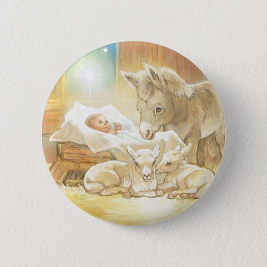 Baby Jesus Nativity with Lambs and Donkey Pinback Button