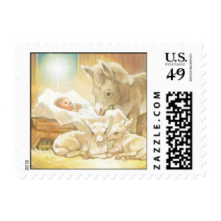 Baby Jesus Nativity With Lambs And Donkey Postage at Zazzle