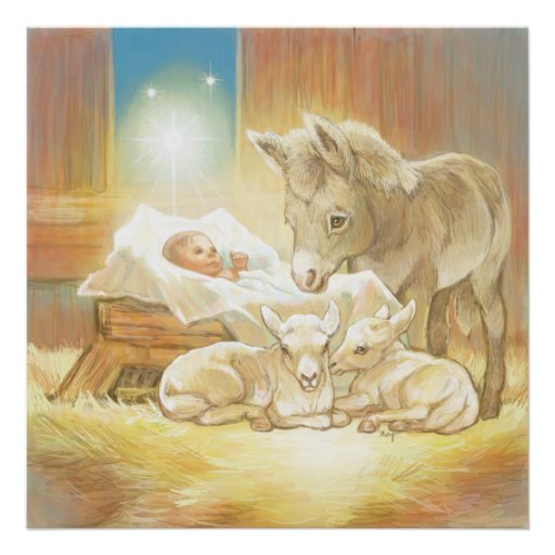 Baby Jesus Nativity with Lambs and Donkey Poster