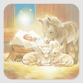 Baby Jesus Nativity with Lambs and Donkey Square Sticker