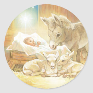 Baby Jesus Nativity with Lambs and Donkey Classic Round Sticker