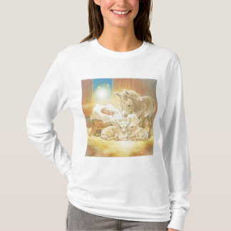 Baby Jesus Nativity with Lambs and Donkey T-Shirt