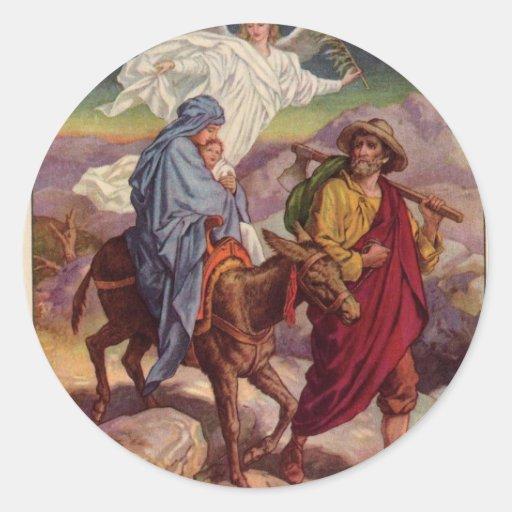 Baby Jesus on his way to Egypt Classic Round Sticker
