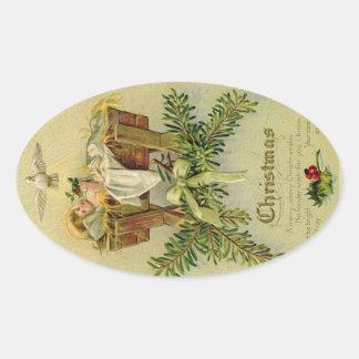 Baby Jesus Oval Sticker