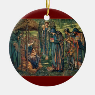 Baby Jesus Pre-Raphaelite Christmas Cards Double-Sided Ceramic Round Christmas Ornament