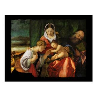 Baby Jesus Saint Catherine and Mary Postcard