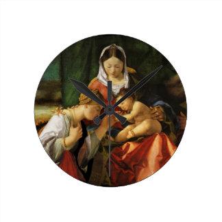 Baby Jesus Saint Catherine and Mary Round Clock