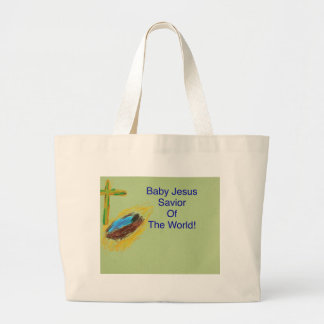 Baby Jesus Savior f the World tote bag