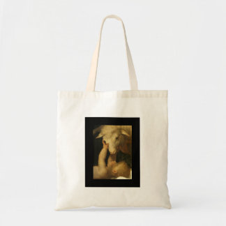 Baby Jesus Touches Face of Lamb Tote Bag