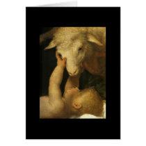Baby Jesus Touches Lamb