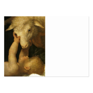 Baby Jesus Touches Lamb Large Business Card