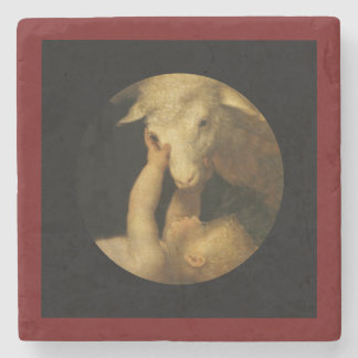 Baby Jesus Touches Lamb Stone Coaster