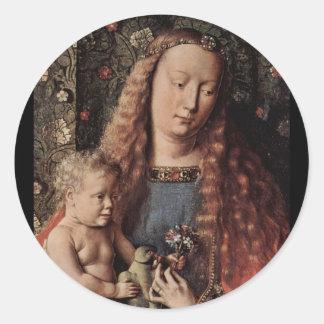 Baby Jesus Touching a Dove Classic Round Sticker