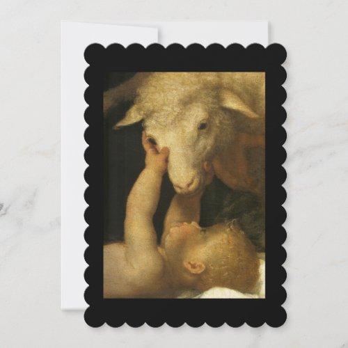 Baby Jesus Touching Lamb Face