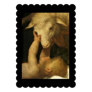 Baby Jesus Touching Lamb Face Card