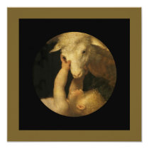 Baby Jesus Touching Lamb Face Invitation