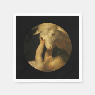 Baby Jesus Touching Lamb Face Napkin