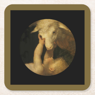 Baby Jesus Touching Lamb Face Square Paper Coaster
