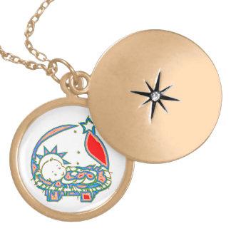 Baby Jesus under a star Locket Necklace