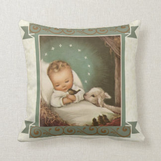 Baby Jesus with lamb & bird in manger Pillow