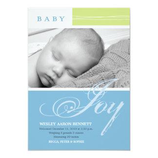Baby Joy Boy Custom Photo Birth Announcement