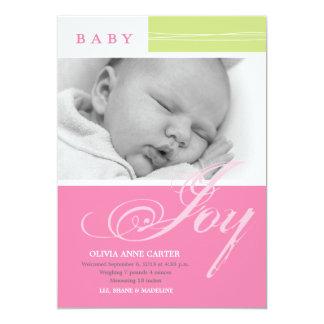 Baby Joy Girl Custom Photo Birth Announcement