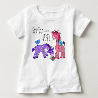 Baby Jump Suit Giraffes Customize PINK PURPLE BLUE Baby Romper
