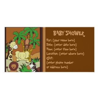 Baby Jungle 10 Baby Shower Photo Card Template