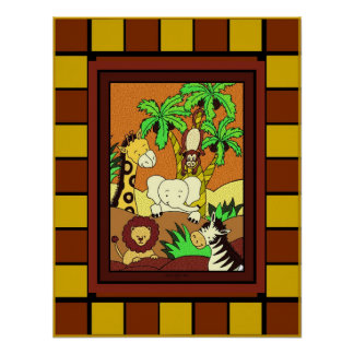 Baby Jungle 11 with Square Border Poster