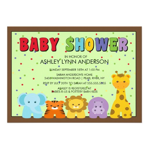 baby jungle animals baby shower invitation 5 x 7 invitation card