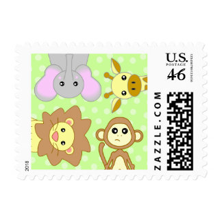 Baby Jungle Animals Green Postage Stamp