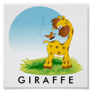 Baby Jungle Giraffe Poster