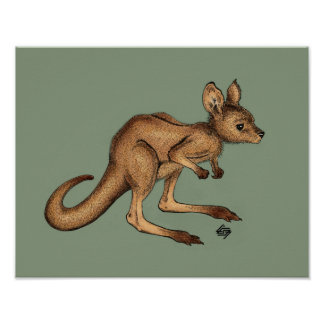 Baby Kangaroo/ Joey on green background Poster
