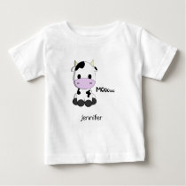 Baby kawaii cow cartoon name baby T-Shirt