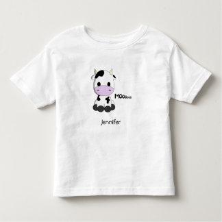 Baby kawaii cow cartoon toddler name shirt