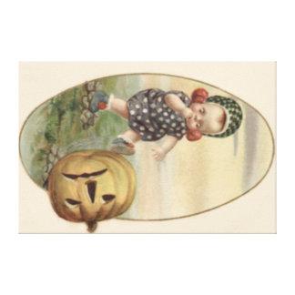 Baby Kicking Jack O' Lantern Pumpkin Canvas Print