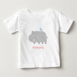 Baby & Kids: Cute Hippo with Blue Bird Cartoon Baby T-Shirt