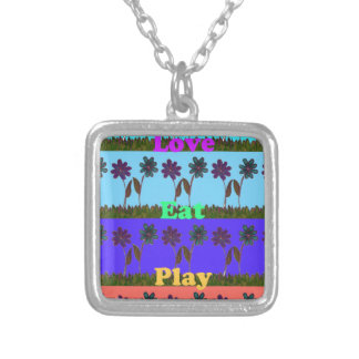 Baby kids love play colors.png square pendant necklace