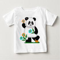 Baby Kids Panda With Flowers 2 Baby T-Shirt
