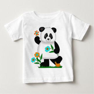 Baby Kids Panda With Flowers 2 Tshirt