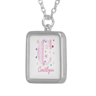 Baby Kids Typography Monogram with Stars Silver Plated Necklace